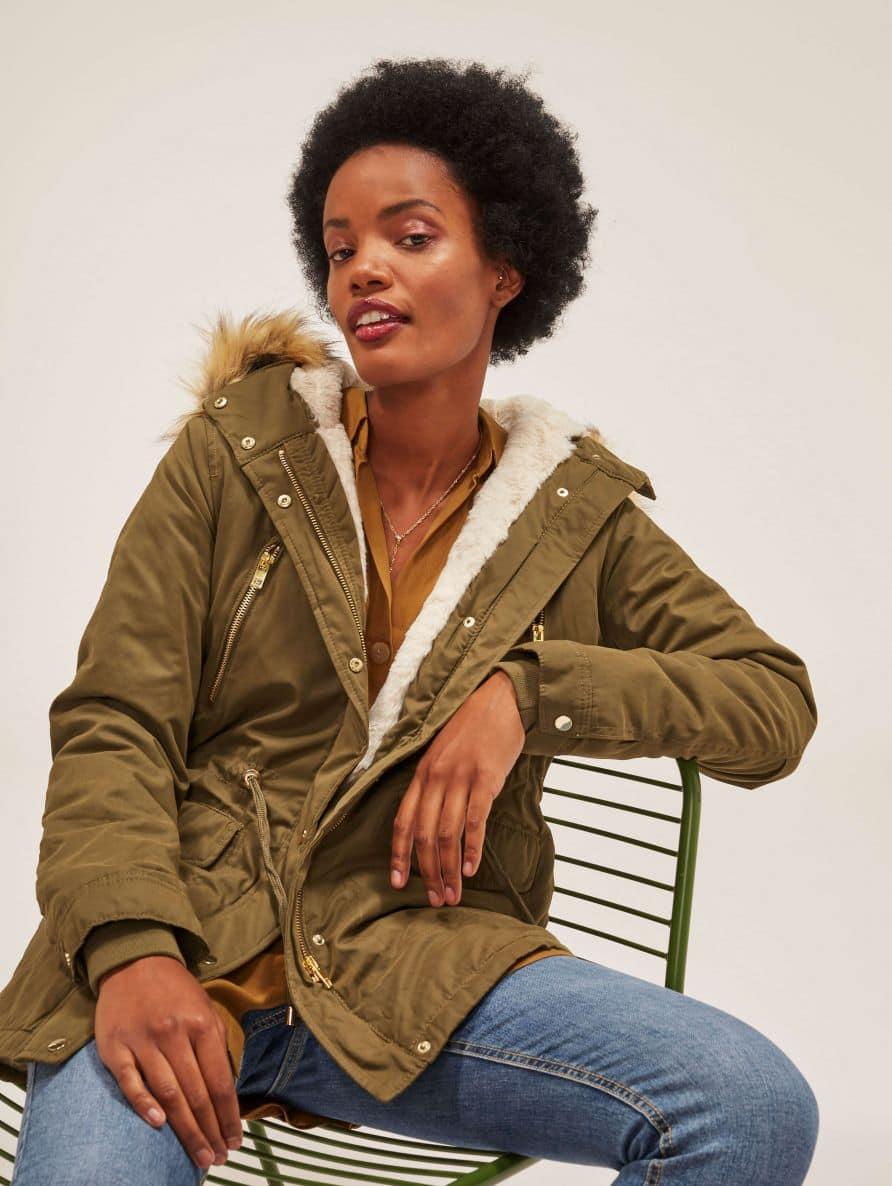 parka with fur lining