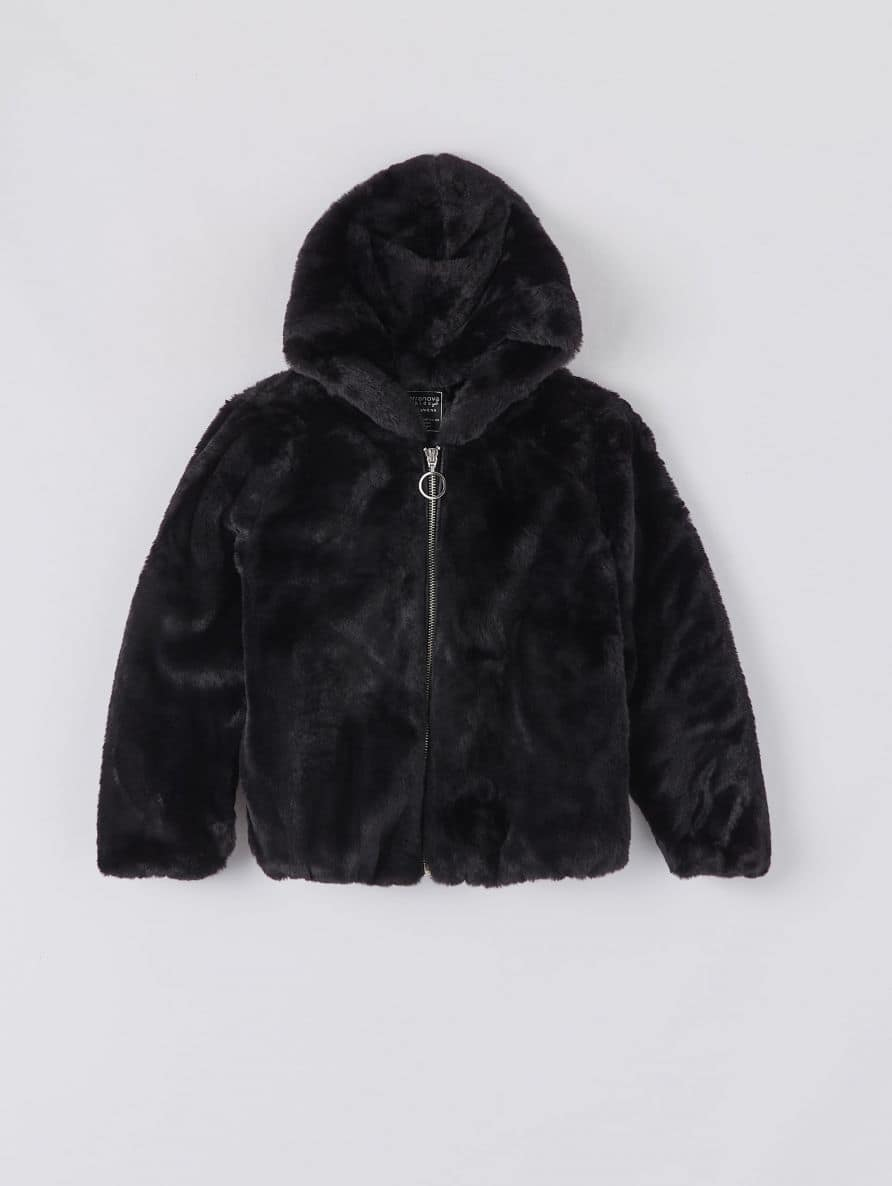 girls' plain faux fur jacket with hood and front zip fastening