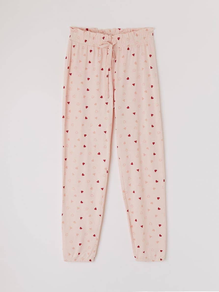 pyjama bottoms with all-over heart print