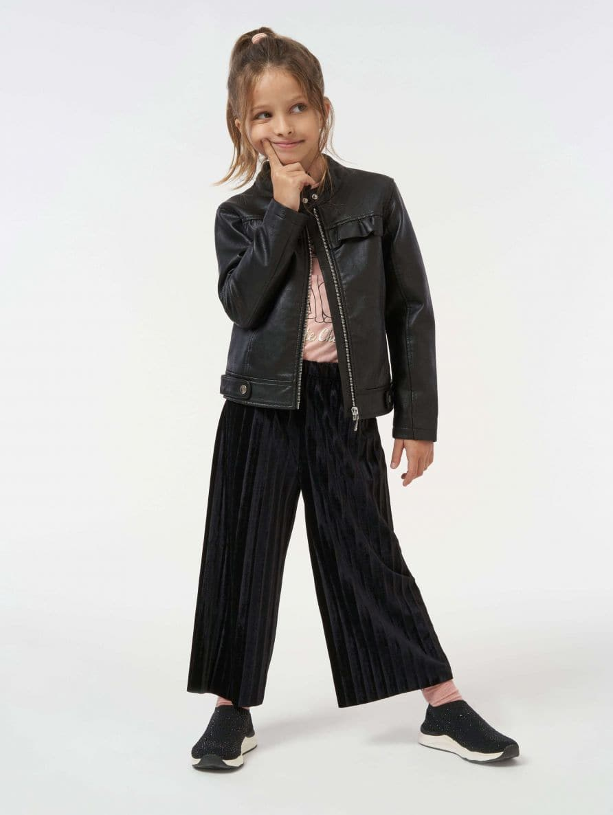 faux leather biker jacket with ruching