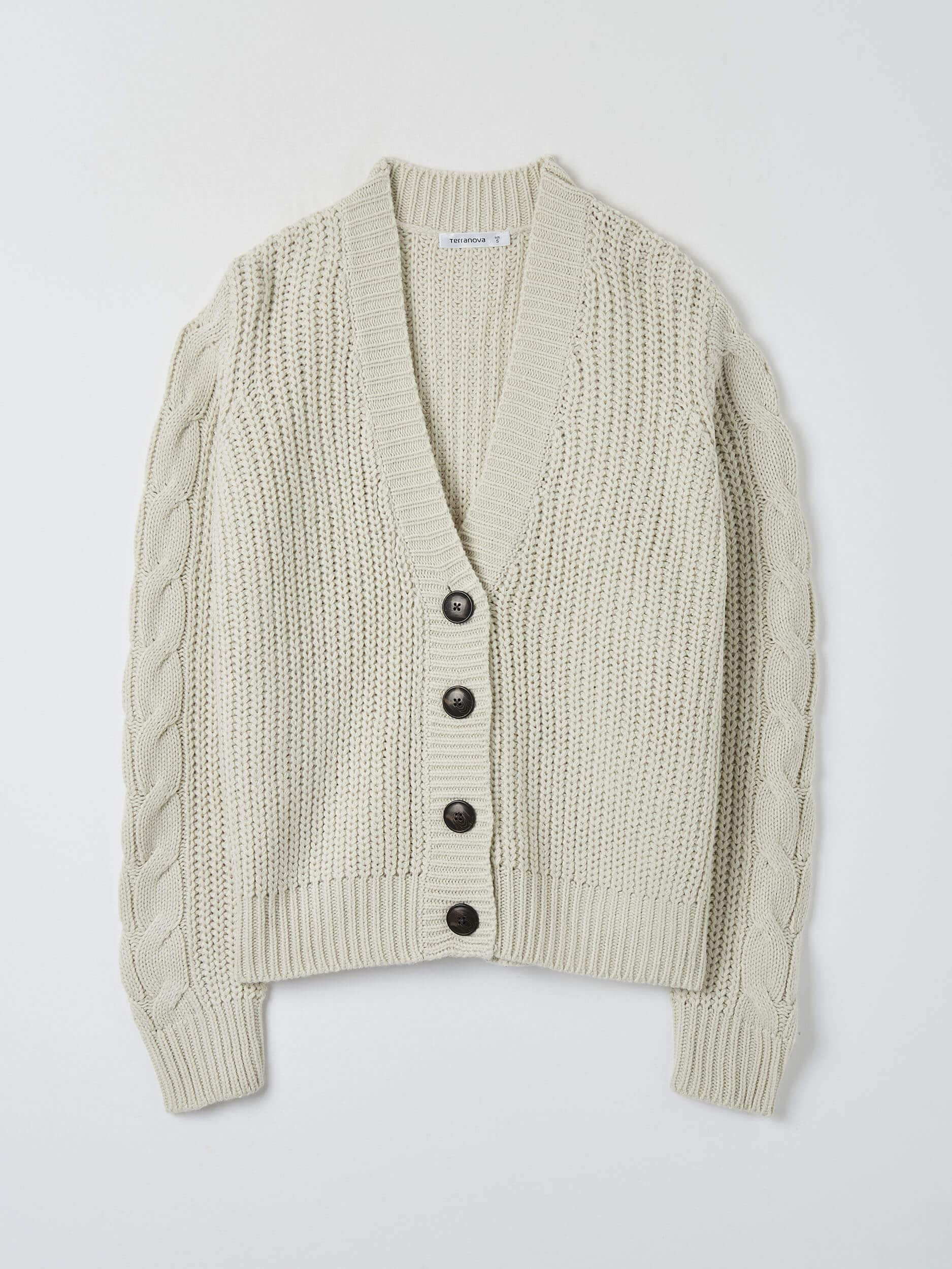 Var White Woll Cable Knit Cardigan Buy Online Terranova