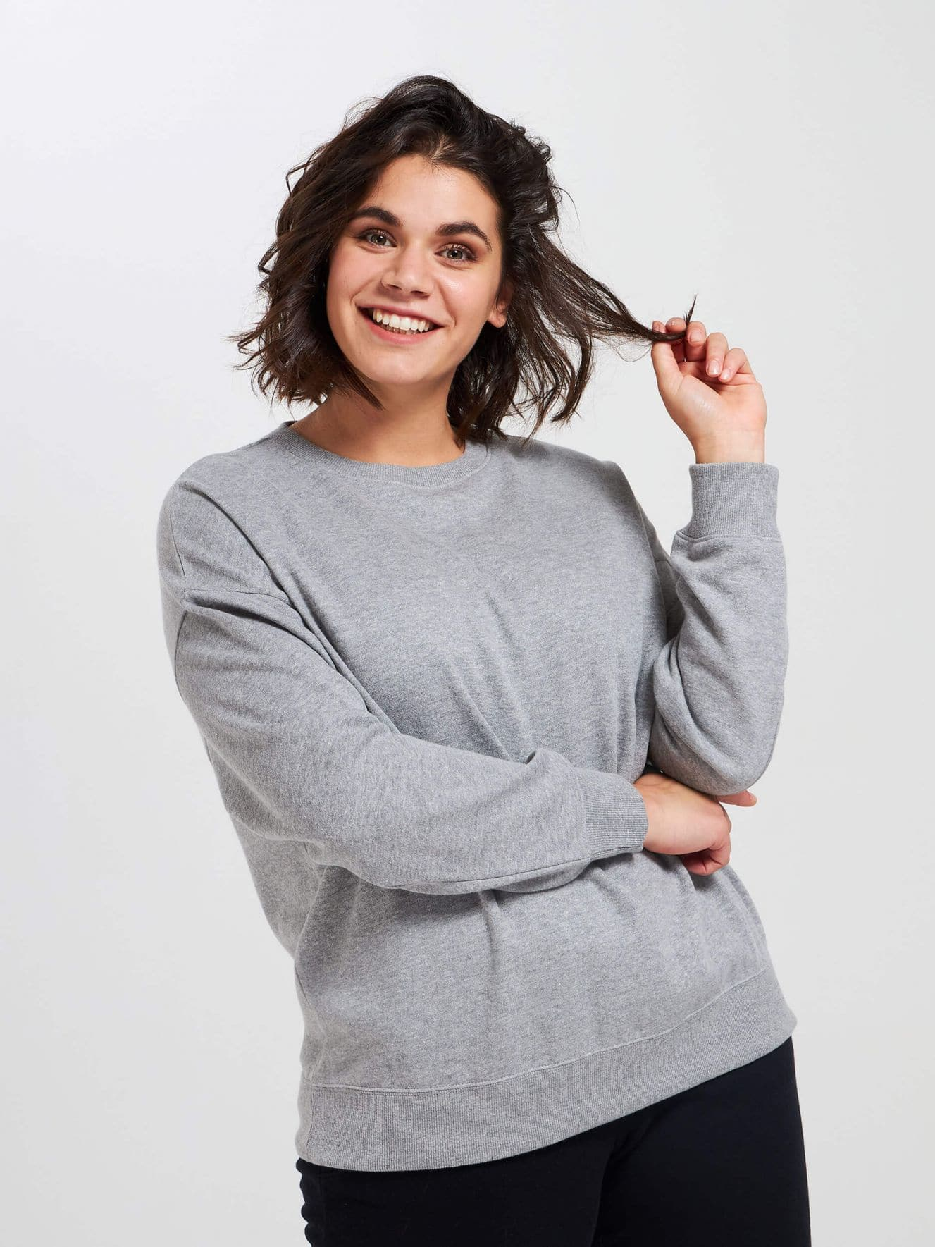 Sweat-shirt fermé teinte unie
