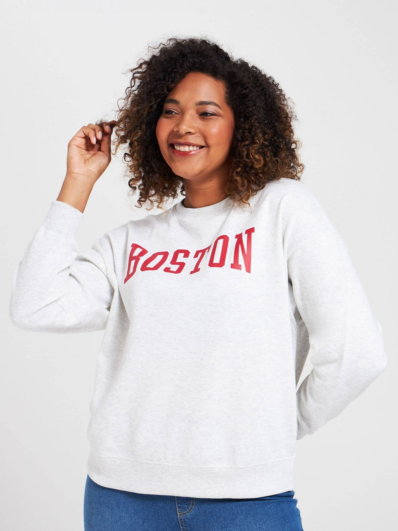 Sweatshirt with slogan on the front