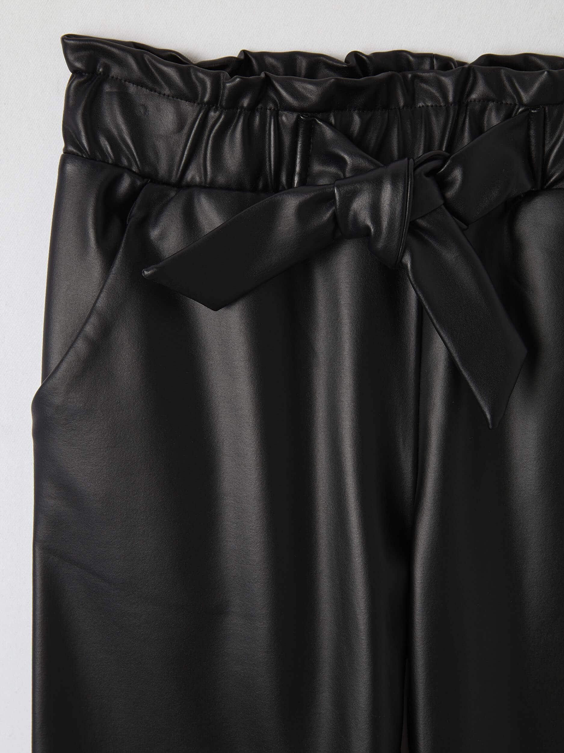 Negro Ultrablack Pantalon Paper Bag De Piel Sintetica Terranova