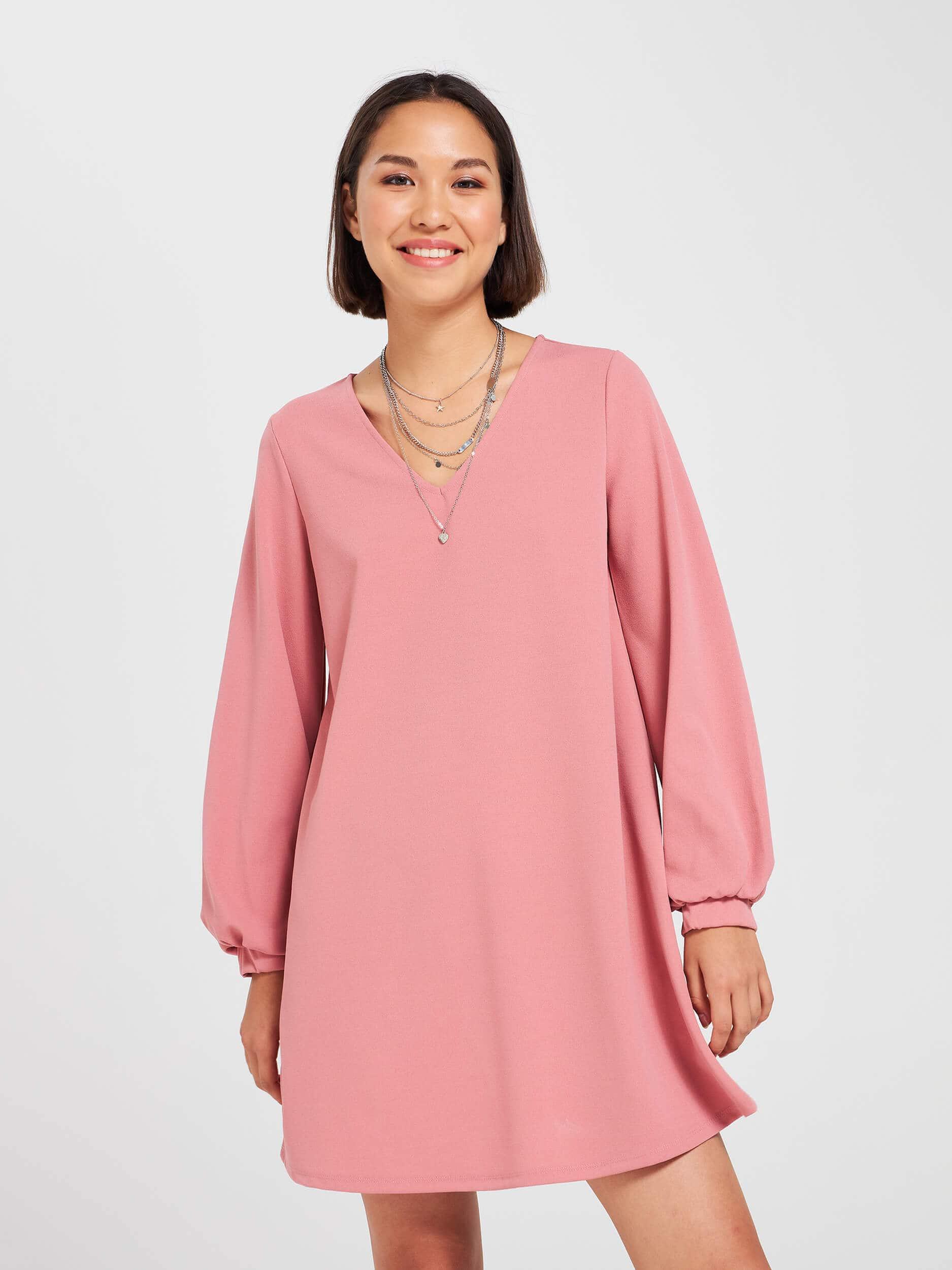 einfarbig ausgestelltes kleid rosa