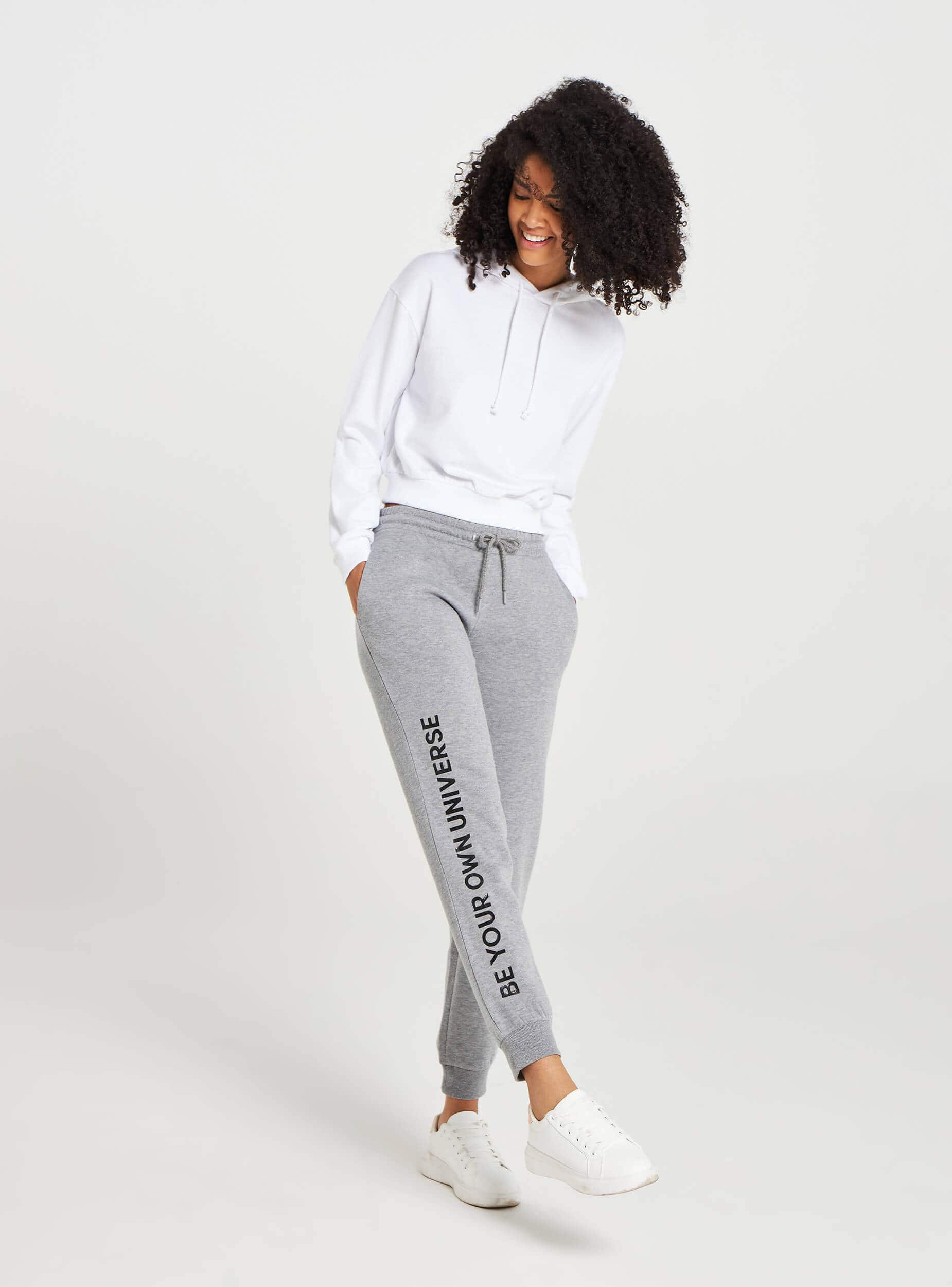 Pantalon De Jogging Avec Inscription Gris Moyen Mélange Achetez En Ligne Terranova