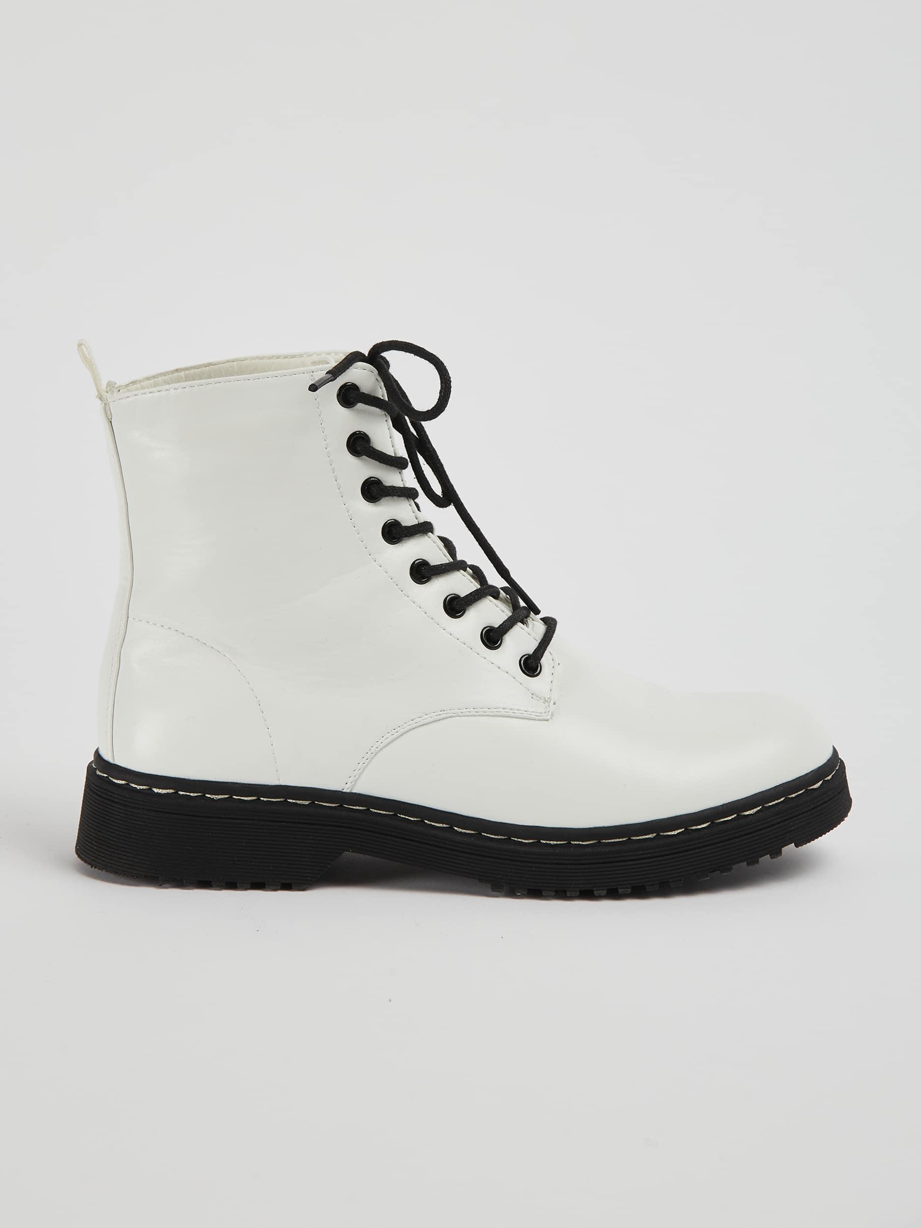 Patent faux-leather combat boots