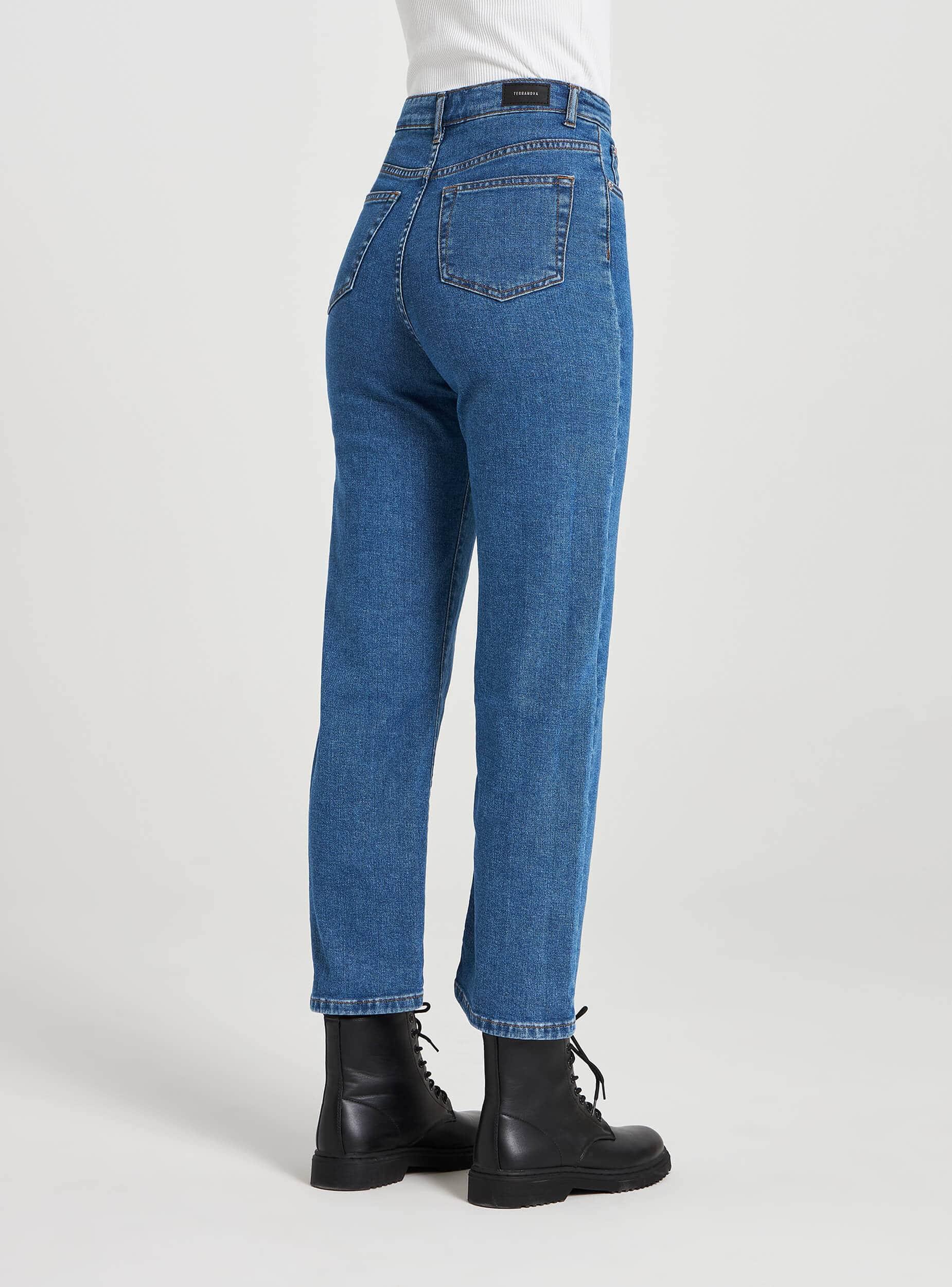 Jean Coupe Droite Taille Haute Bleu Denim Moyen Achetez En Ligne Terranova