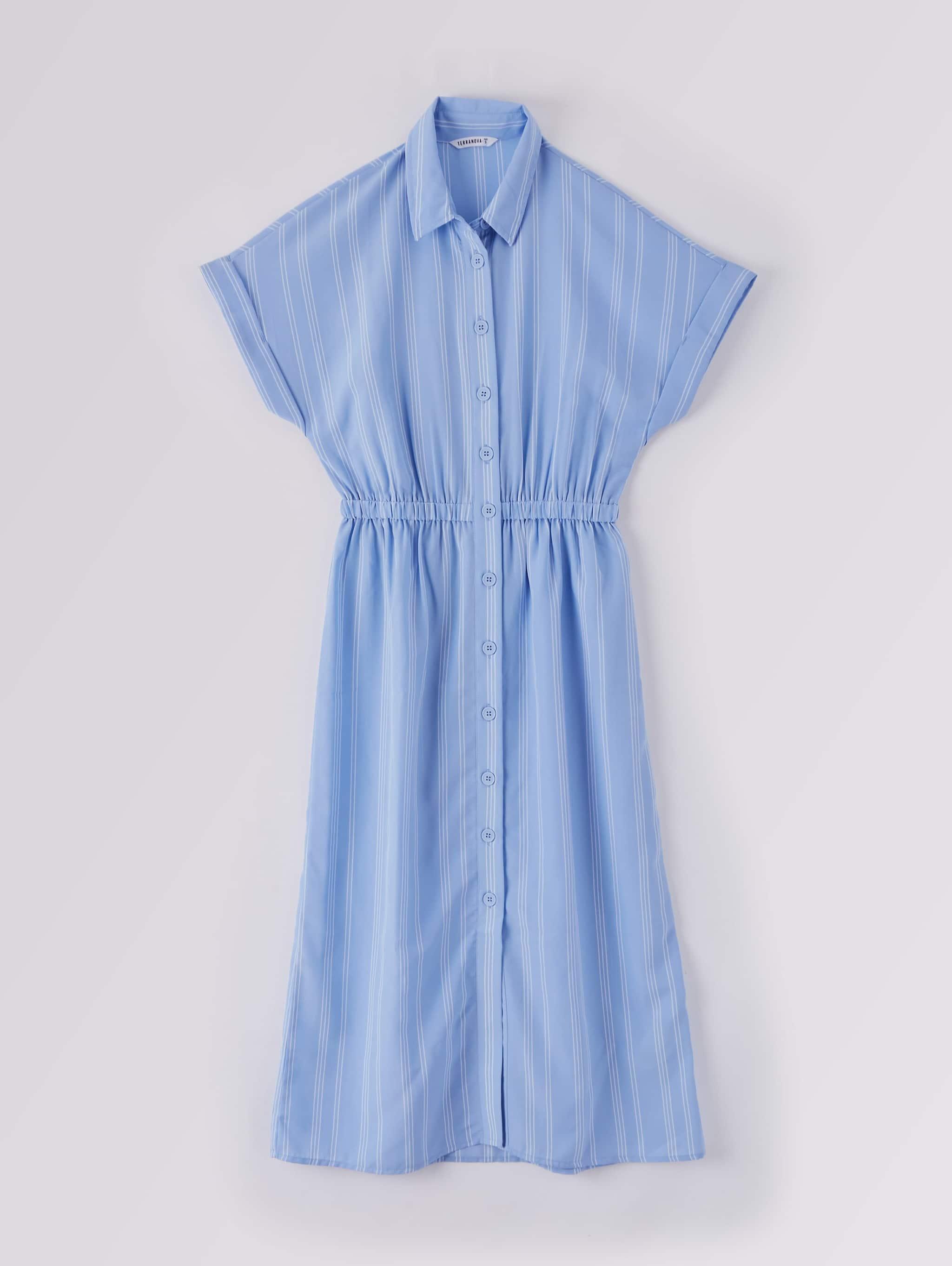 Var Hellblau Chemisier-Kleid, lang, gestreift  Terranova
