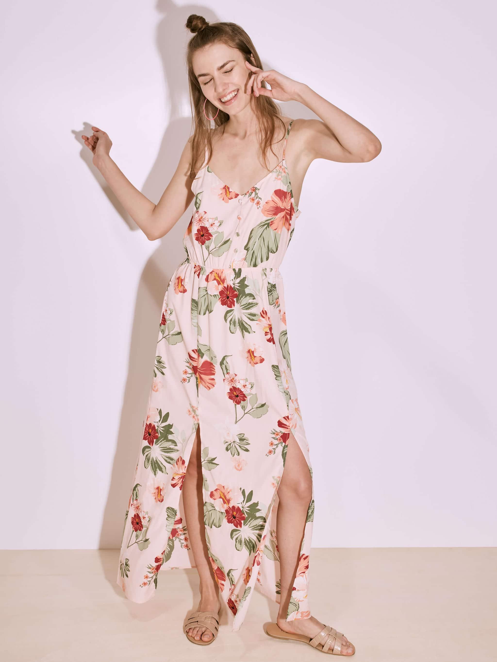 Var Rosa Kleid, lang, geblümt, mit Schlitzen  Terranova