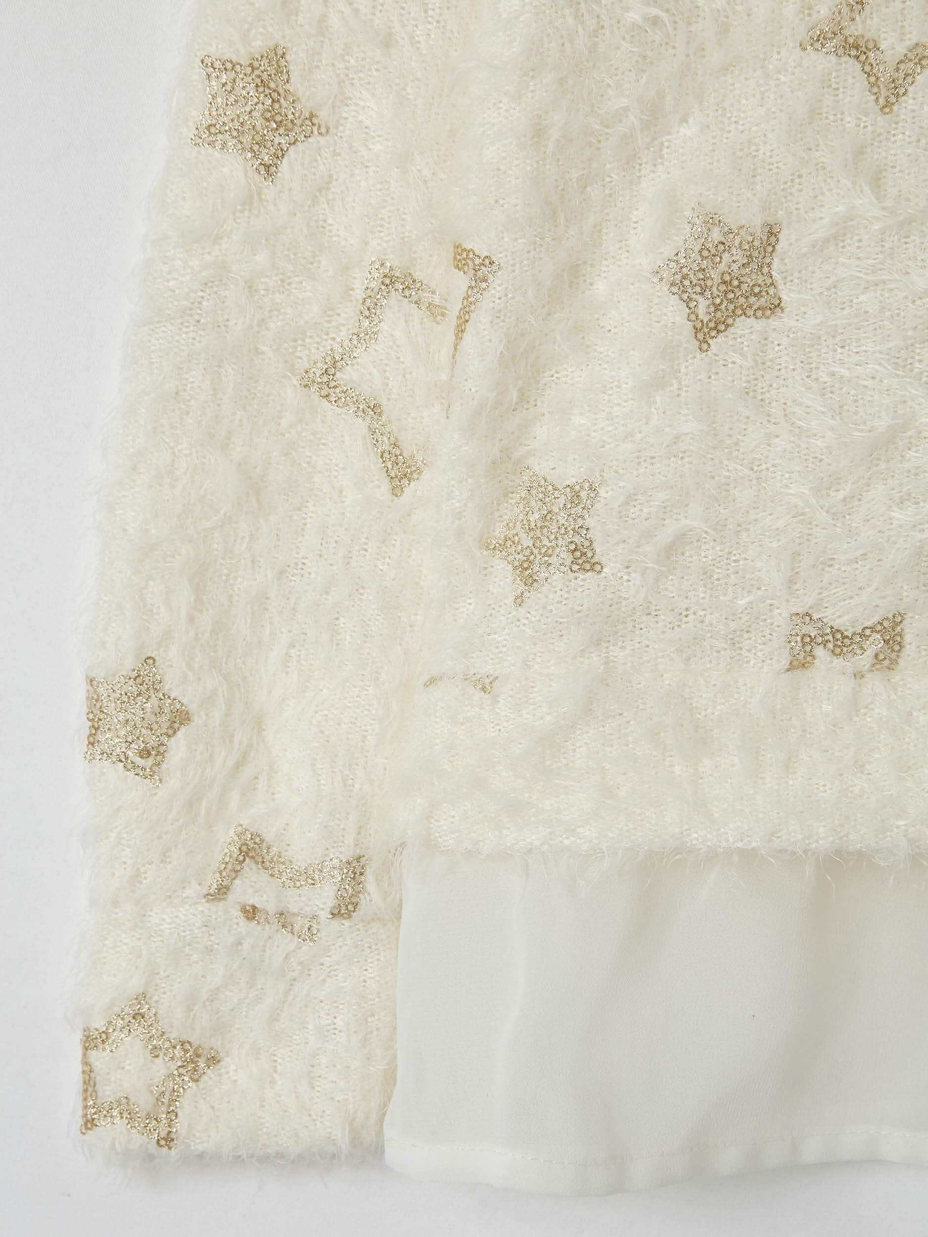 Var White Woll Soft Sweater With Stars Buy Online Terranova