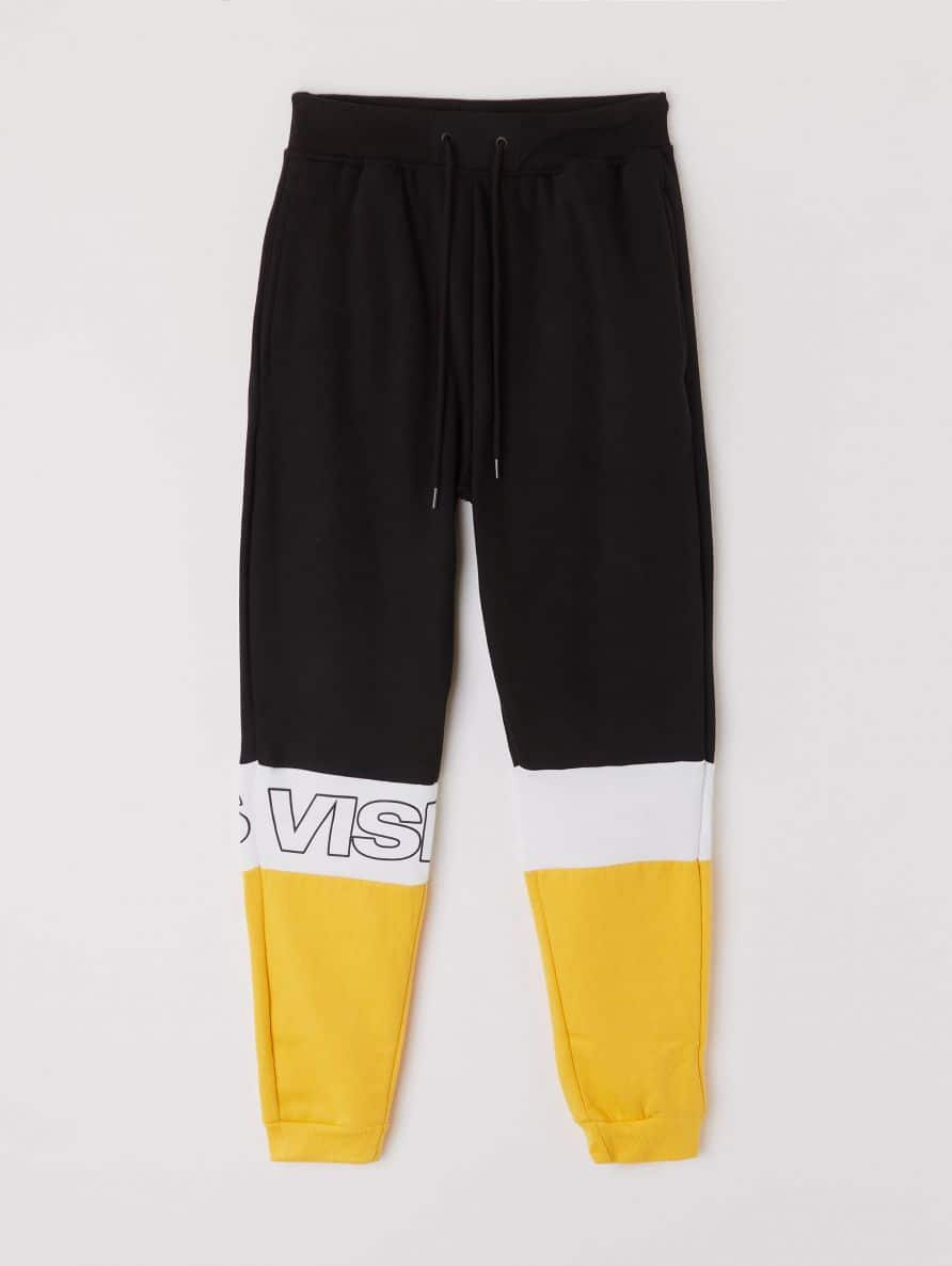 colour block track pants with slogan